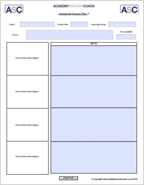 coaching session plan template interactive session plans academy soccer coach asc