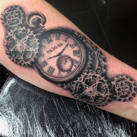 steampunk pocket watch tattoo on forearm ksvhs jewellery