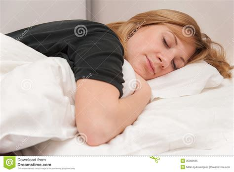 Sleeping With No Pillow by Sleeping In Bed Royalty Free Stock Photo Image