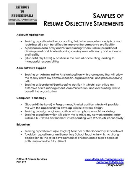 Resume Writing Objective Statement Sle Resume Objective Statement Berathen