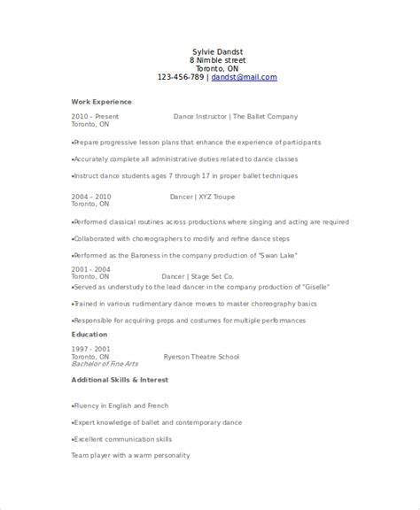 dancer resume exles dancer resume template 6 free word pdf documents