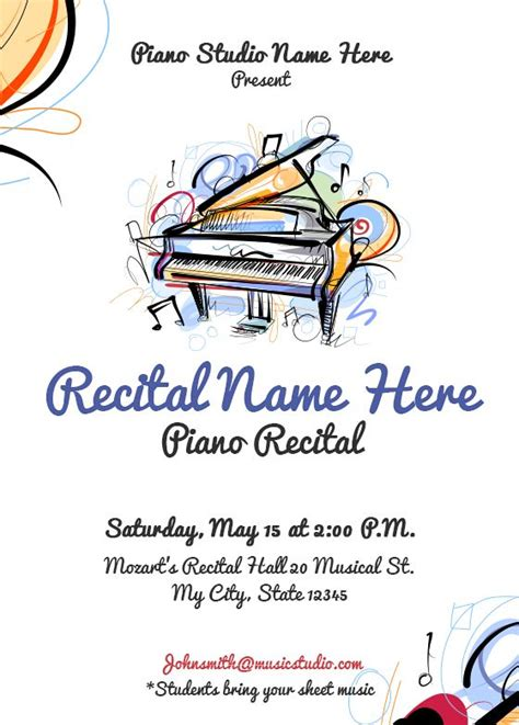26 Best Piano Recital Invitations Images On Pinterest Piano Recital Piano And Piano Classes Recital Ad Templates