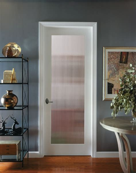 reeded decorative glass interior door traditional
