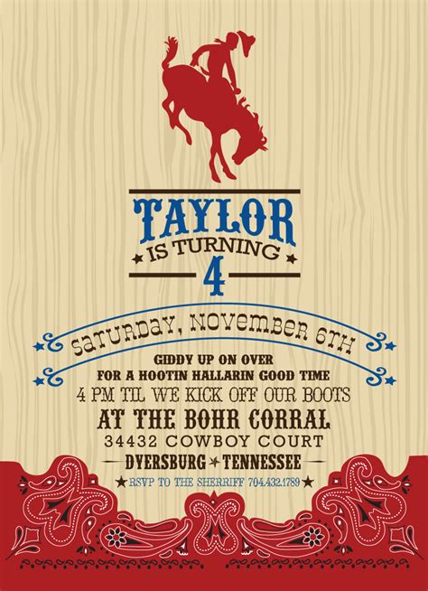 cowboy invitation template free printable western templates search results
