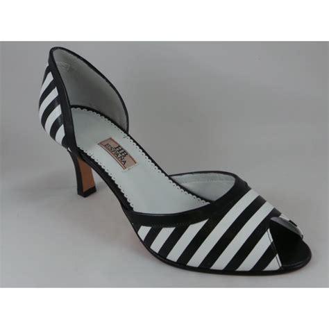 andrea black and white stripe leather peep toe court shoe