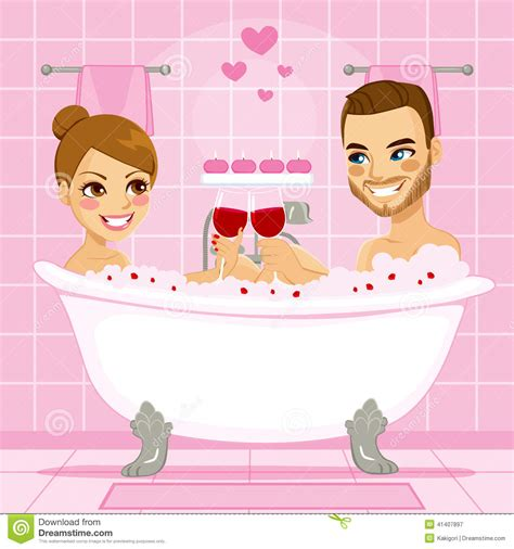 making love in a bathtub love couple pink bubble bath stock vector image 41407897