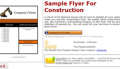 construction flyer templates free 6 construction flyer templates af templates