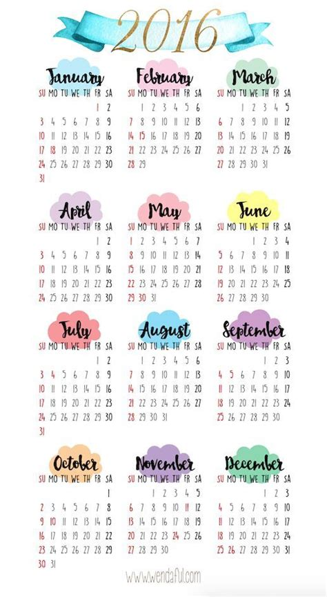 yearly overview calendar printable planners