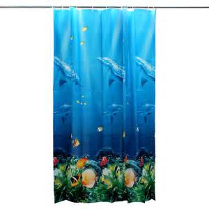 cool tropical dolphin sea fish shower curtain