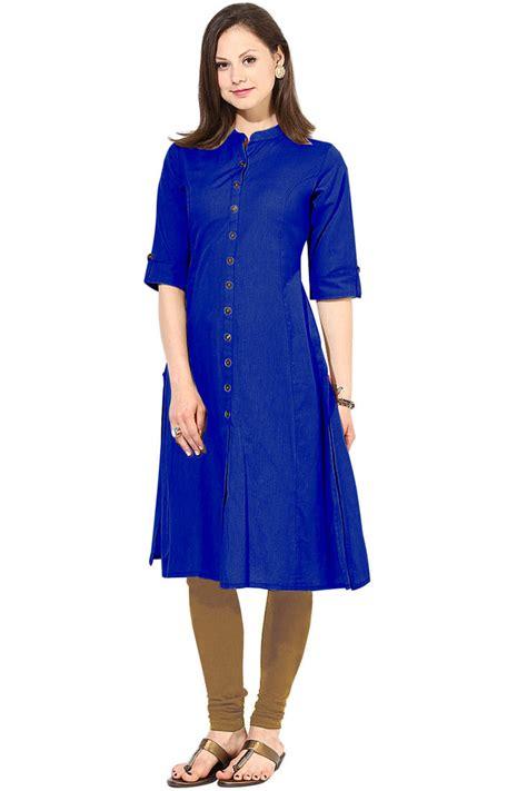 blue kurta pattern buy latest long blue color plain cotton fabric kurta online