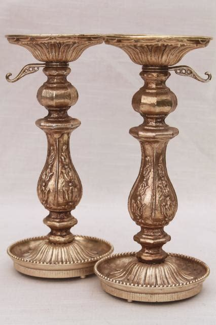 Vintage Candle Holders by Ornate Cast Metal Candlesticks Vintage Candle Holders W