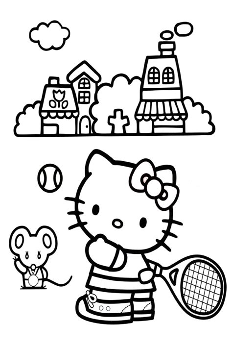 hello kitty tennis coloring pages hello kitty coloring pages overview with a lot of kitties