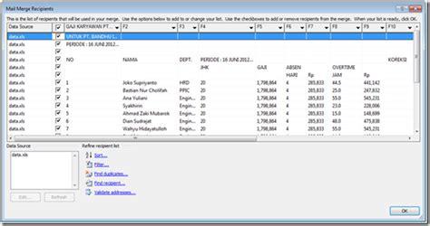 membuat slip gaji dengan mail merge rianklik slip gaji dengan mail merge ms word 2007