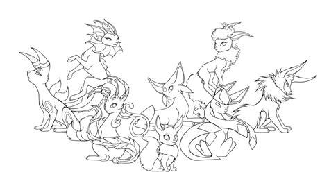 Eevee Evolutions Coloring Pages eevee evolutions free colouring pages