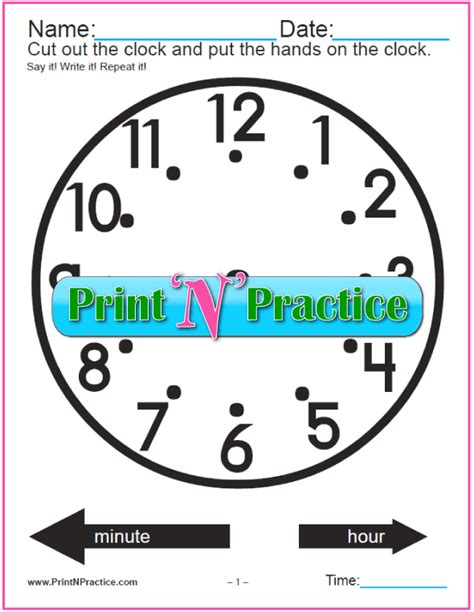 printable clock with movable hands clock worksheet cut and color digital analog