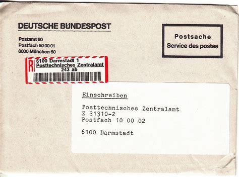 Brief Schweiz Deutschland Wie Lange Philaseiten De Einschreiben Belege Und Informationen