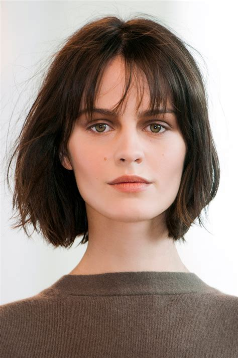 are bangs okay with medium short hair on 50 year old 10 low maintenance lob length cuts we love stylecaster