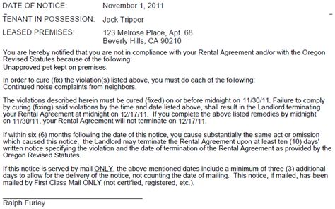 Demand Letter Oregon pin oregon eviction notice on