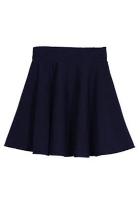 navy blue ruffles high elastic waist cotton blend skirt