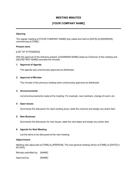 minutes sle template minutes document template company documents