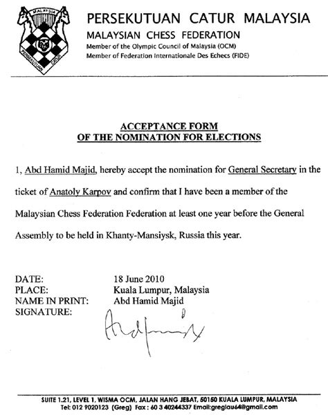 Acceptance Letter Nomination Hairulovchessmaniac Abdul Hamid Majid Letter Of Nomination