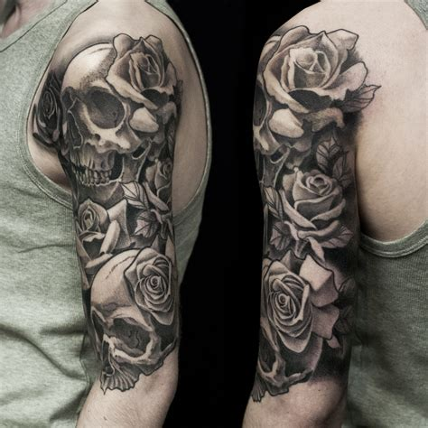 skull and rose half sleeve tattoos skull and half sleeve done at dublin ink tattoos