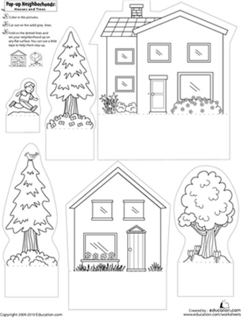 community map coloring page pop up neighborhoods houses and trees worksheet