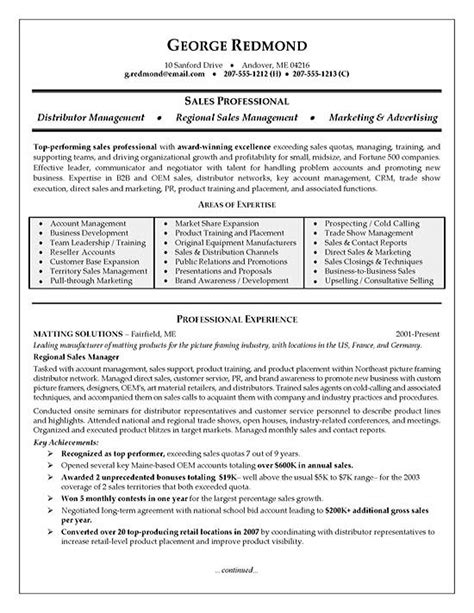 Regional Sales Sle Resume by Regional Sales Resume Exle