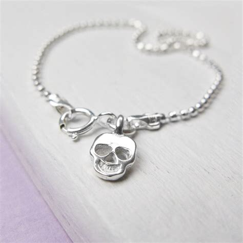 Tales From The Earth Silver Bracelet At Asos by Sterling Silver Small Skull Bracelet By Tales From The