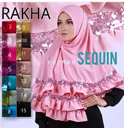 Instan Tazkia Sequins Premium jual khimar sequin by rakha toko jilbab branded instan kerudung terbaru