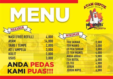 ayam gepuk sambal bawang pak gembus menu zomato indonesia