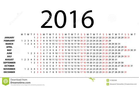 Calendario Horizontal Horizontal Calendar For 2016 On White Stock Vector
