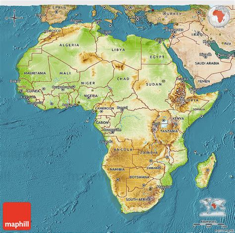 africa map 3d physical 3d map of africa satellite outside