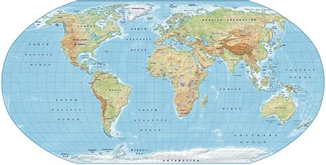 robinson map digital vector royalty free world relief map in the robinson projection light color uk