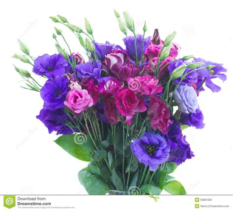 immagine mazzo di fiori mazzo di fiori viola di eustoma fotografia stock