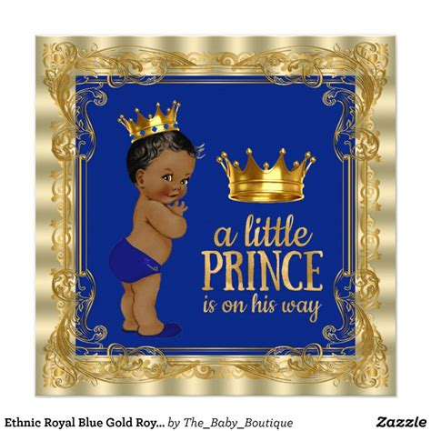 prince ethnic background ethnic royal blue gold royal prince baby shower card zazzle