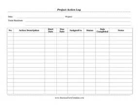 project action log template