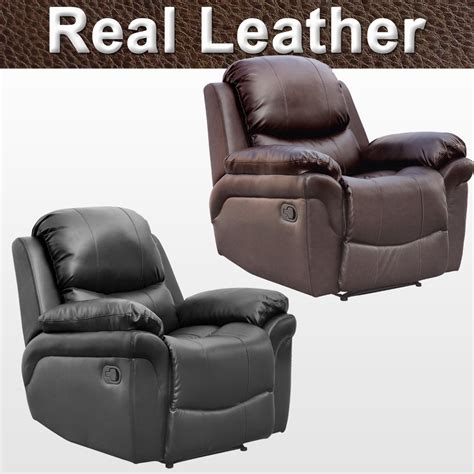 real leather armchair madison real leather recliner armchair sofa home lounge