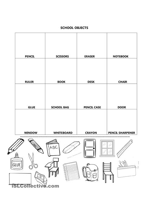 school objects matching b w worksheets kola pinterest school objects to cut ingles pinterest actividades