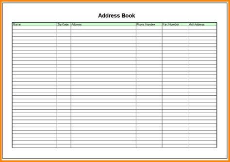 book template excel free address book template vertola
