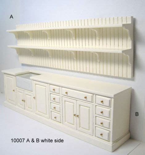 Jbm dollhouse miniature wood kitchen unit set furniture cabinet shelf sink new dollhouses