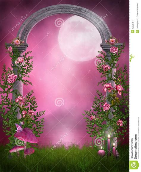 Garden Of Pink pink garden with a arch stock illustration image