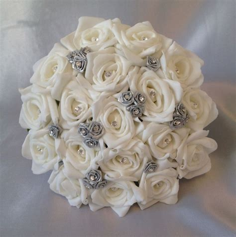 Wedding Bouquet Artificial by Artificial Wedding Flowers Silver White Foam Wedding