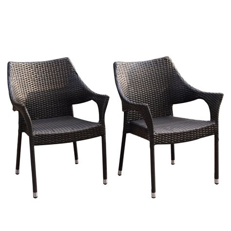 Wicker Patio Dining Chairs by Joveco Classic Rattan Wicker Outdoor Backyard Bistro