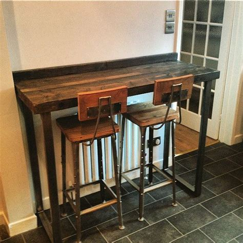 metal bar height table reclaimed industrial 4 seater chic poseur table wood