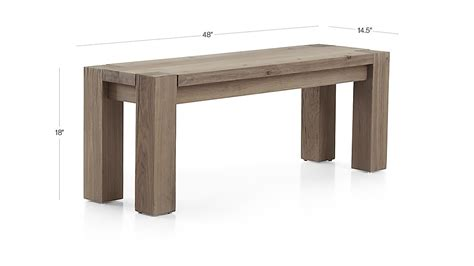 crate and barrel bench seat big sur smoke 48 quot bench crate and barrel