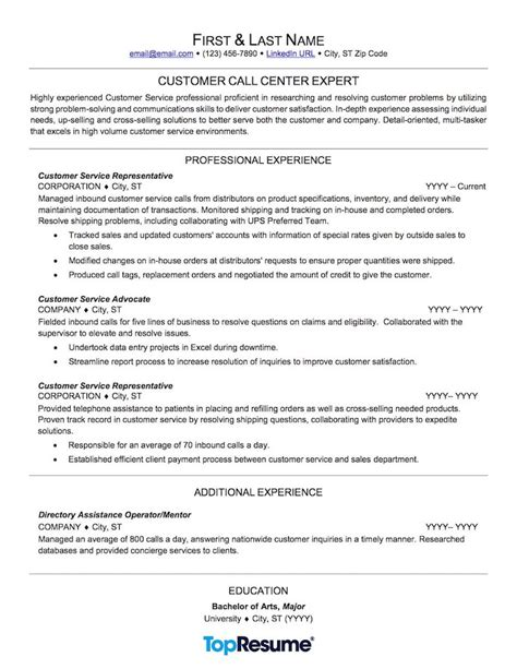 sle of resume objectives for call center call center resume sle professional resume exles topresume