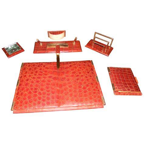 art deco desk set complete art deco crocodile executive desk set hermes