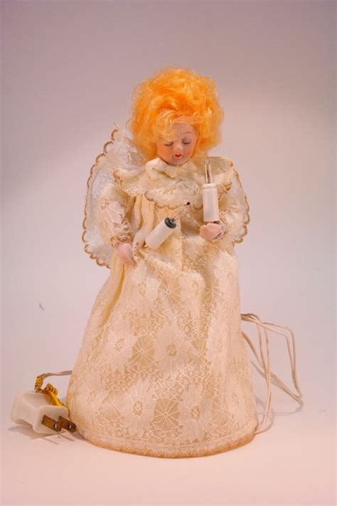 vintage porcelain angel tree topper lighted 9 tall ebay