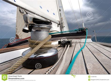 boat winch rope winch with rope on sailing boat stock photo image 14439792